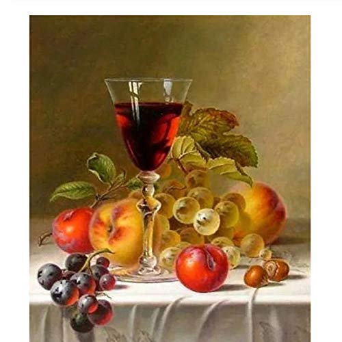 Wzxzf Pintar por números Copa de Vino y Fruta La Pintura al óleo Digital se Puede Utilizar para la decoración de Arte de Pared de 40 x 50 cm (sin Marco)
