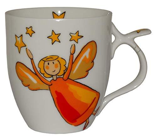 Cha Cult Porzellan Teetasse mit Schutzengel Motiv (mit Stern, Gelb)