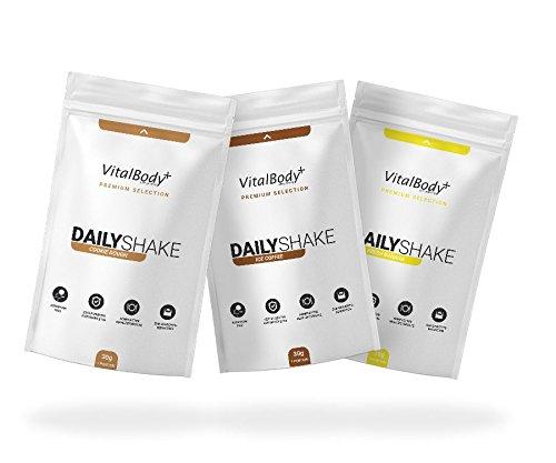 VitalBody+ Dailyshake Proteinpulver, Mahlzeitenersatz zum Abnehmen für Männer&Frauen, 3x30g Probierpakete Abnehmshake, zertifizierter Erdbeere Eiweißshake als Diät-Shake - Deutsche Premium Qualität