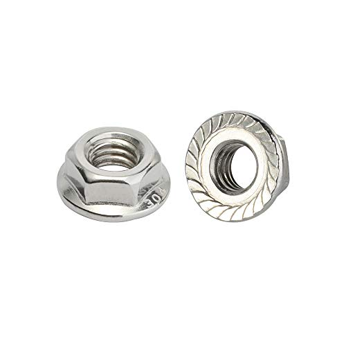 M10-1.50 Serrated Flange Nut Hex Lock Nuts, Stainless Steel 304, Plain Finish, Quantity 25