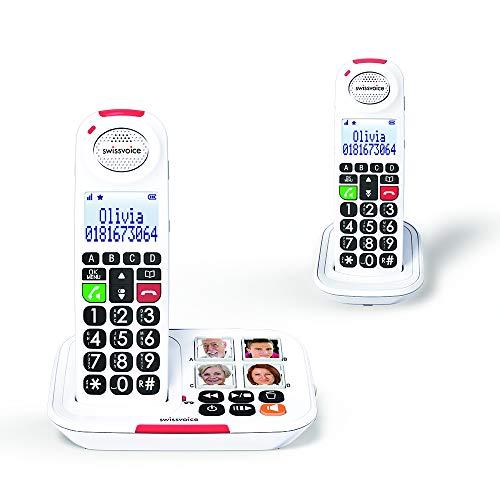 Swissvoice Xtra 2155 Duo Téléphone sans Fil avec combiné supplémentaire pour Les séniors, 4 Photos memoires, Amplification Audio, Sonnerie Extra Forte, Répondeur intégré