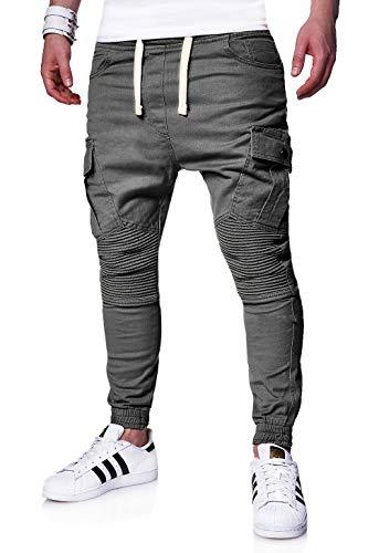 behype. Herren Cargo Biker Jogger-Jeans Hose mit Taschen Slim-Fit S-XXL 80-6722 Dunkelgrau L