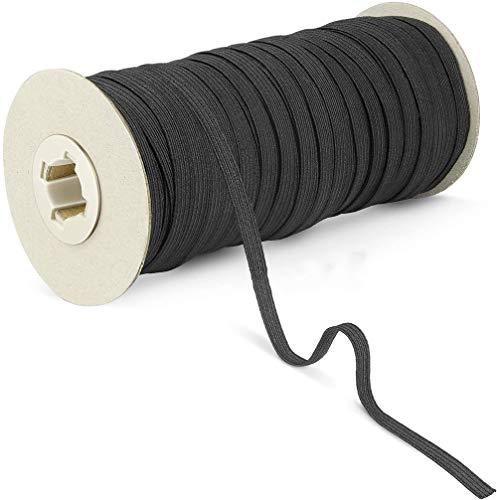 100 Yards Length Braided Elastic Band-1/8' Width Black Elastic String Cord, Heavy Stretch High Elasticity Knit, Elastic Band for Ear Band Loop Sewing Crafts DIY, Bedspread, Cuff (Shipping from U.S.A)