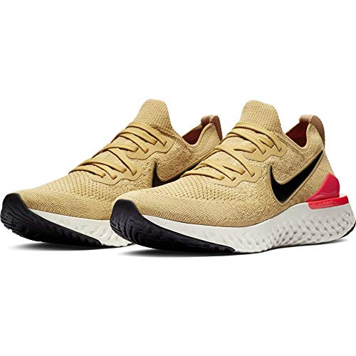 Nike Mens Epic React Flyknit 2 Fabric Low Top Lace Up Running, Gold, Size 8.5