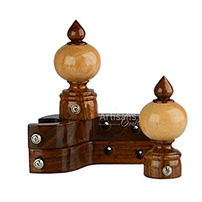 ARTISANS CRAFT - Handmade Wooden Curtain Rod Brackets with Round Finials for Curtains, Natural Rosewood, Home Accessories | Window Treatment | Drapes
