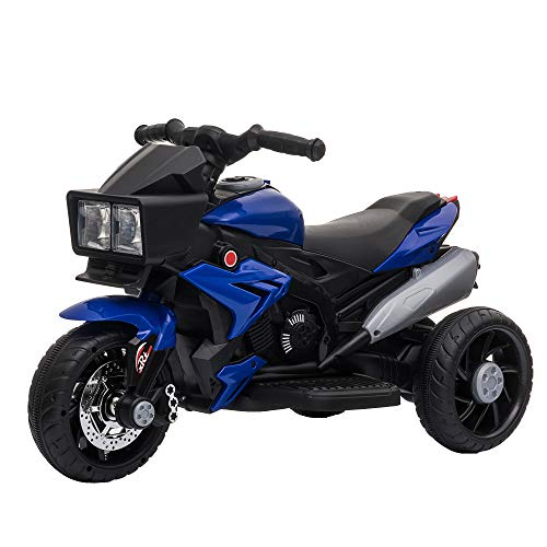 Aosom Kids Electric Pedal Motorcycle Ride-On Toy 6V Battery Powered w/ Music Horn Headlights Motorbike for Girls Boy 3-8 Years Old Blue