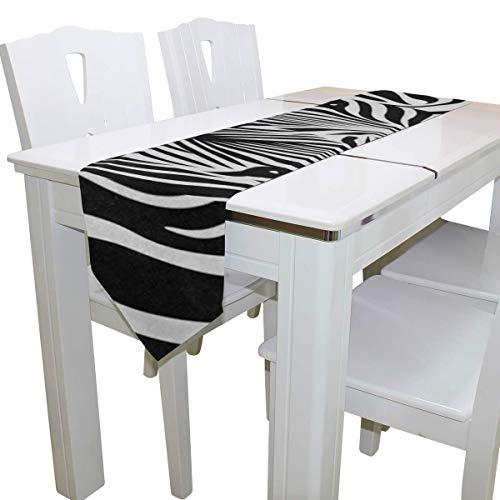 N/A Eettafel Runner Of Dresser Sjaal, Abstract Dier Zebra Print Deck Tafelkleed Runner Koffie Mat voor Bruiloft Partij Banket Decoratie 13x90IN