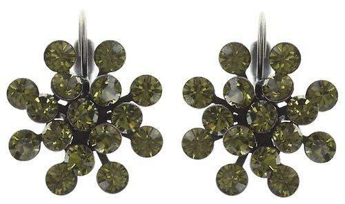 KONPLOTT Magic Fireball Classic Ohrhänger für Damen | Exklusive Designer-Ohrringe mit 32 Swarovski Steinen | Glamouröser Ohrschmuck passend zu jedem Anlass | Handgefertigter Damen-Schmuck | Grün