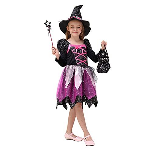 SHIHUAN Disfraz Infantil Bruja Candy, Disfraz de Bruja con Sombrero de Bruja Y Bolsa de Dulces, Traje de Bruja para Halloween, Niño,Without Light,100cm