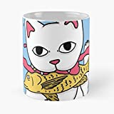 Makeki Fish Fantasy Aquarium Mystery Cat Aqua Acid - Tazas de café blancas de cerámica de 15 oz