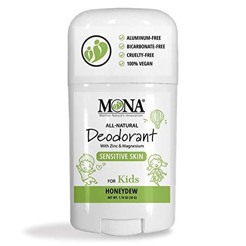 MONA BRANDS 100% Natural Deodorant for Kids | For Girls & Boys | Sensitive Skin | No Baking Soda | No Aluminum, Talc or Alcohol | Plant-based, Vegan, Non-GMO, Gluten & Cruelty free | HONEYDEW