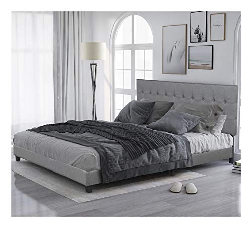 JNBJNB Upholstered Platform Bed Frame | Tufted Headboard | Mattress Foundation | Wood Slat Support | No Box Spring Needed | Easy Assembly, King Sizes (Color : Gray)