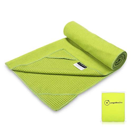 Yogabasics Handtuch für Yogamatte, rutschfest durch Silikonpunkte und Ecktaschen, 183cm x 63cm, Geeignet für Hot Yoga, Extrem Schweiß absorbierend, Premium Mikrofaser Qualität, Grün