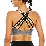nine bull Women's Removable Padded Sports Bras High Impact Support Fitness Racerback Workout Yoga Bra M Light Gray