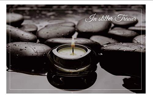 Merz Designkarten 10 Stück einfühlsame Premium-Trauerkarten/Beileidskarten (Kerze, Steine) im Set mit 10 weißen, edlen Umschlägen - Mitgefühl Mitleid Anteilnahme Trauerkarte, Todesfall, Sterbefall