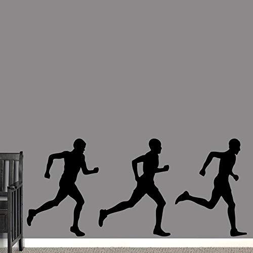 Männer Laufen Sport Wandtattoos für Fitnessstudio Vinyl Sportartikel Wandaufkleber Wohnkultur Abnehmbare wasserdichte Ornament Aufkleber G_126x57cm