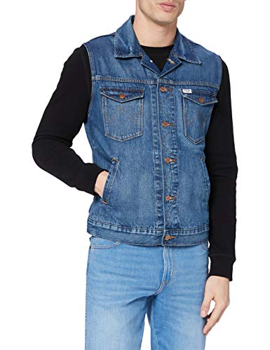 Wrangler Mens Denim Vest, DE-LITE Blue, XL
