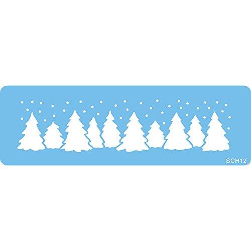 jem SCH12 Foresta Natalizia Stencil per Cake Design, Blu