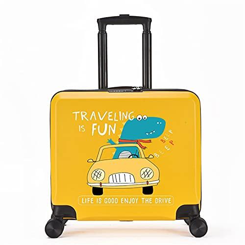 FGHHJ Equipaje para niños de 18 Pulgadas, Muchacha, niña, pequeña Maleta, Equipaje de Viaje con 4 Ruedas, cartón, Carcasa Dura, Peso Ligero,Yellow Car