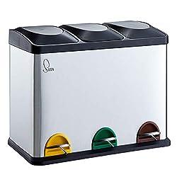 SVITA TC3X15 Küchen-Eimer Edelstahl Silber 45 Liter 3X 15L dreifach Abfalleimer 3er-Mülleimer Mülltrennung Treteimer