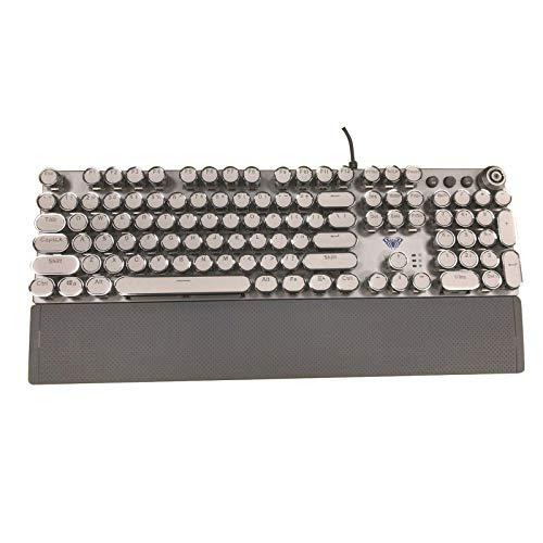 Tastiera Steampunk Gaming, tastiera meccanica con piastra in metallo, rotonda, retroilluminata, retrò, steampunk, tastiera meccanica (tastiera creativa)