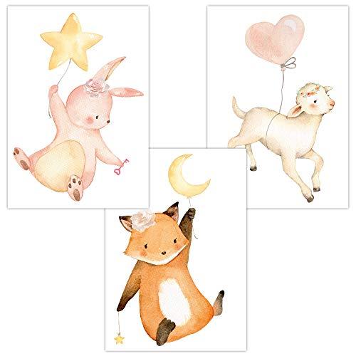 Wandbilder 3er Set für Baby & Kinderzimmer Deko Poster Luftballons Hase Fuchs Schaf   Kunstdruck DIN A4 ohne Rahmen und Dekoration (Luftballons, Hase, Fuchs, Schaf)