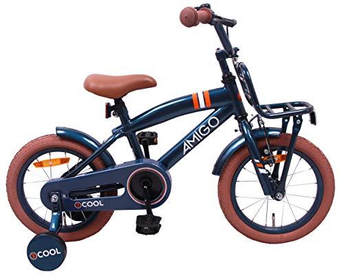 AMIGO 2Cool - Kinderfahrrad für Jungen - 14 Zoll - mit Handbremse, Rücktritt, Gepäckträger Vorne und Stützräder - ab 3-4 Jahre - Blau