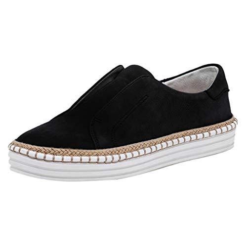 AIni Zapatos Casuales De Mujer Zapatos con Estampado De Leopardo Zapatos Planos Antideslizantes De Plataforma Zapatos Transpirables Y CóModos Moda Zapatillas del Barco para Caminar Negro 35-43