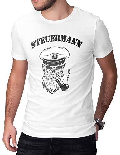 Bonneville Herren T-Shirt Tee Bekleidung Totenkopf Marine Skipper Segeln Fun Steuermann White L