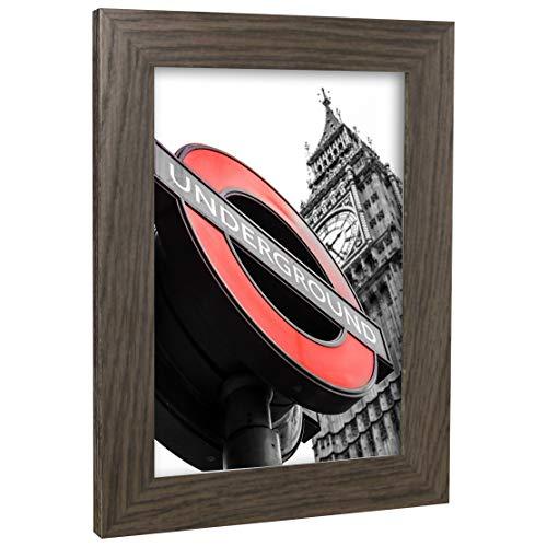 Bilderrahmen Fotorahmen 45x60 cm Mooreiche bilderrahmen zum aufhängen MDF picture frames Farbe & 40 verschiedene Größen wählbar ohne Passepartout Rahmen London