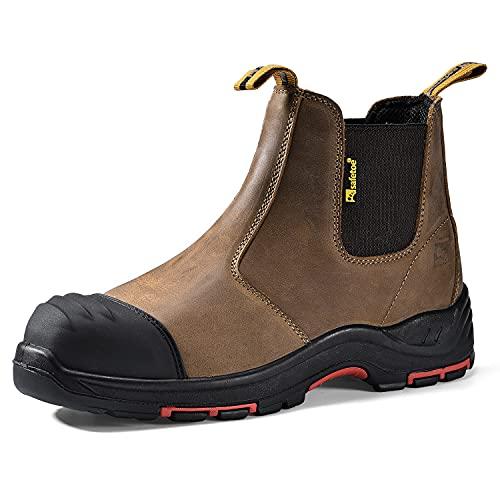 Safetoe Zapatos de Seguridad para Hombres, M-8025NB Botas de Seguridad, con Cuero Impermeable, Puntera de Material Compuesto Sin Metal Ligeros Calzado, Zapatillas para Plantilla mas Comodas EU44