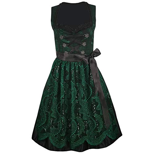 Damen Dirndl Kleid Dirndlkleid Trachtenkleid Ilka Grün 38