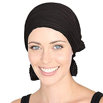 Chemo Beanies  Black Wavy Knit