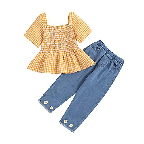 Ropa NiñAs PequeñAs Camiseta A Cuadros Manga Corta Pantalones Mezclilla Superiores Vaqueros Largos Trajes Y OtoñO NiñOs