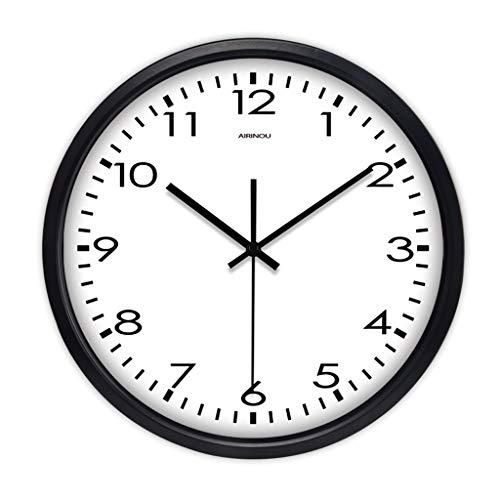Everyday home Horloge à quartz moderne classique grande montre à quartz Horloge murale salle de séjour intérieure simple et calme (Couleur : NOIR, taille : 12 pouces)