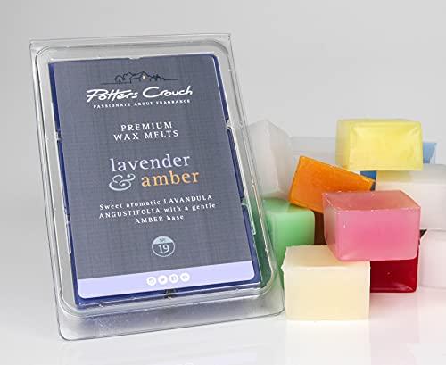 Potters Crouch Lavender & Amber No.19 Wax Melts - Cubos de cera altamente perfumados para vela eléctrica calentador de cera, cera derretida, 6 x 22 g