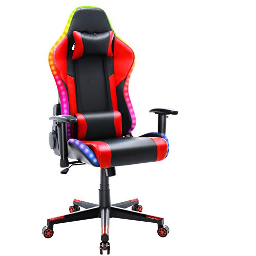 HomeMiYN Gaming Chair with RGB LED Light Racing Style Recliner Swivel Video...