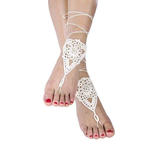 Vococal - 1 par Hueco Crochet Sandalias Descalzas Girasol Zapatos Tobillera Pulsera para Novia Dama Honor para Señora Mujer