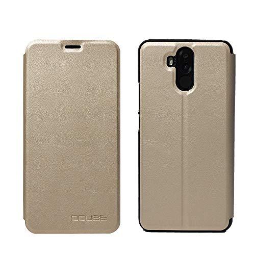 Ycloud Tasche für Oukitel K6 Hülle, 360-Grad-Schutz case Artificial Leather Schale Flip Cover Hülle Hartplastik Innenschale mit Funktionshalterung Schutzhülle (Gold)