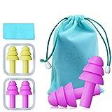 Tappi per le orecchie in silicone riutilizzabili - Tappi per le orecchie ultra confortevol...