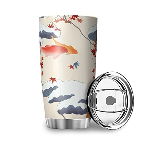 Facbalaign Fische und Wolken Thermoskanne Ahorn Isolierbecher Edelstahl Isolierung Tea Mug Coffee Cup Mit Deckel 20oz White 600ml