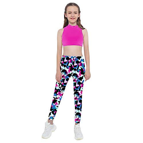 ranrann Conjuntos Deportivos para Niña 2 Piezas Top Corto Tank Top Leggins Largos Slim Fit Ropa de Deportes Yoga Fitness Gym Color 4 5-6 años