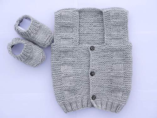 Baby Strickjacke Set mit Schuhen 6 bis 12 Monate Grau Jungen Handmade