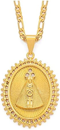 KANTAN88 Our Lady of Aparecida Pendant Necklaces Gold Color Virgin Mary Chain Necklaces Brazilian Catholics Jewelry 45Cm