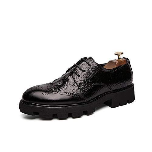 Best-choise Oxfords for Hombres Zapatos Brogue Formales con Cordones Punta Redonda Piel Genuina Transpirable Casual Exquisito Costura a Mano Llamativo (Color : Negro, tamaño : 42 EU)