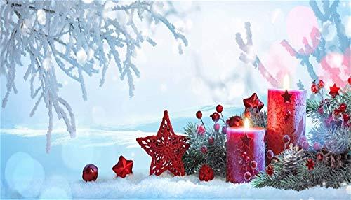 vrupi 20x12ft Telón Fondo Navidad Vinilo Campo Nieve Aire Libre Ramas árboles escarchados Velas Rojas Estrellas Rojas Ramitas Pino Conos Fondo Año Nuevo Navidad Fiesta Bebé Tarjeta felicitación