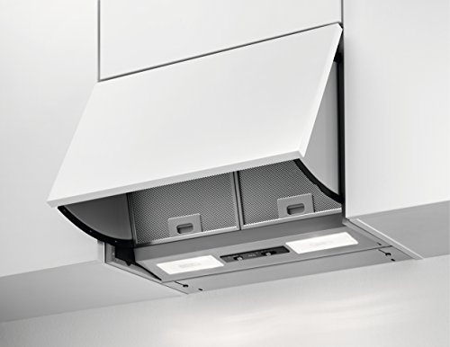 AEG DEB2531S Dunstabzugshaube (Einbau) / Grau / klappbare Abzugshaube mit 3 Leistungsstufen / 55 cm Einbauhaube / dezenter Dunstabzug LED-Beleuchtung / 100,2 kWh pro Jahr