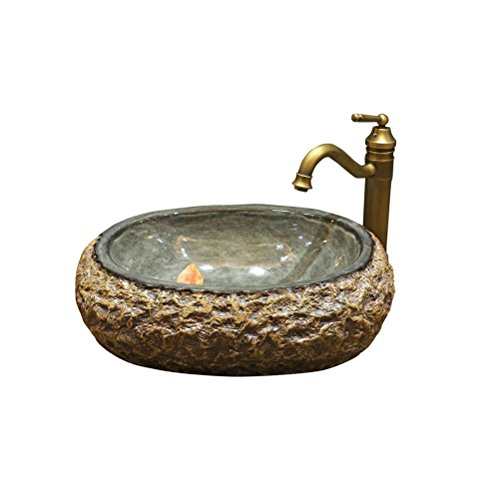 Keramische Basin Art Basin Wash boven de toonbank wastafel Stone Pots Personality Creative Round (55x38x16cm)