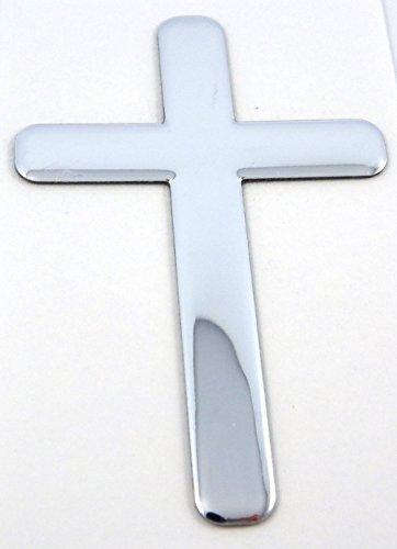 "Jesus Cross Chrome Finish Decal Emblem 3D Sticker car Bike auto 2""x3"""