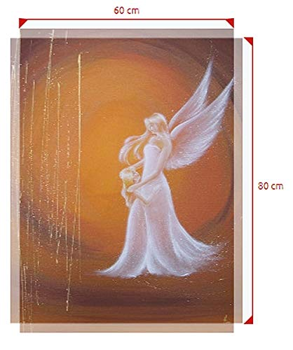 Henriettes-ART Engel Taufgeschenk, Gastgeschenk zur Taufe oder Geburt, Schutzengelbild Ich Bin da auf Leinwand (60 x 80 cm)